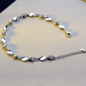 Beautiful Nine Crystal Silver Bracelet