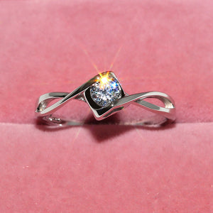 Silver Hollow Heart Crystal Ring