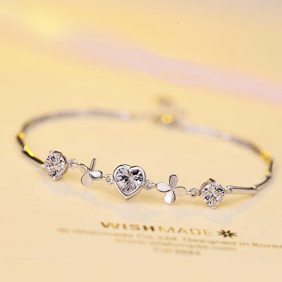 Heart-shaped Clover Silver Bracelet