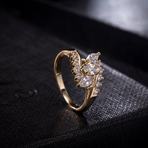 Elegant S-Shape Crystal Ring