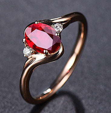 Adjustable Red Crystal Diamond Ring