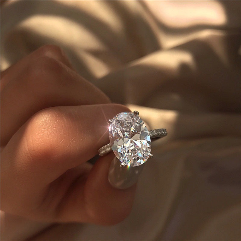 Large Oval Crystal Zircon Ring