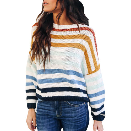 Winter Women Casual O-Neck Striped Patchwork Sweater