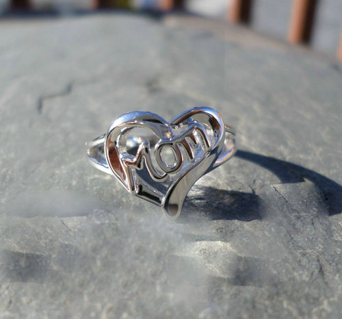 Mom Love Heart Silver Ring