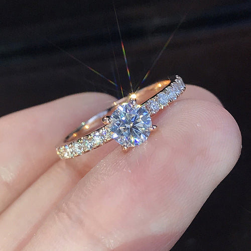 Elegant Crystal Engagement Ring