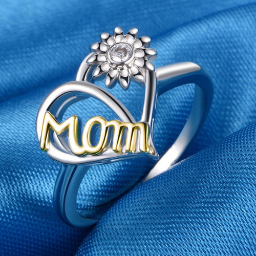 Love Mom Sunflower Ring