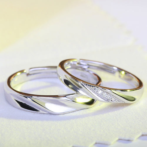 Dazzling Silver Couples Ring