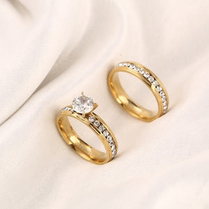 Romantic Stainless Steel Crystal Ring Set