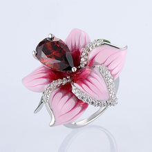 Load image into Gallery viewer, Charming Pink Rose Flower Ring