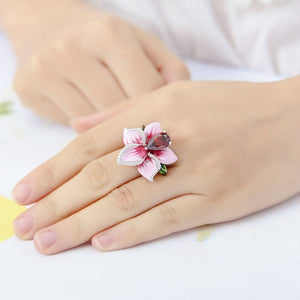 Charming Pink Rose Flower Ring