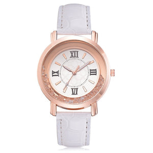 Rhinestone Leather Wristwatch