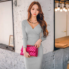 Load image into Gallery viewer, V-Neck Slim Body-con Dress