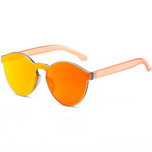 RTBOFY One Piece Rimless Sunglasses Transparent Candy Color Tinted Eyewear