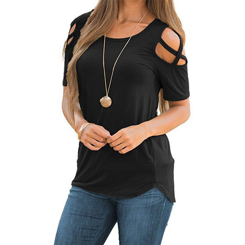 Short Sleeve Cold Shoulder Tops