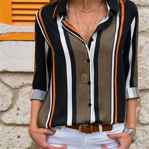 Striped Turn Down Collar Blouse