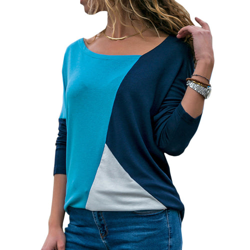 Lady's Skew Collar Patchwork Basic Tops