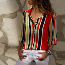Load image into Gallery viewer, Striped Turn Down Collar Blouse