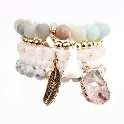 Exquisite Stone Leaf Pendant Bracelet Sets