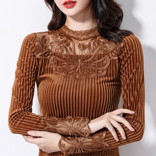 Long Sleeve Stand Collar Stylish Velvet Tops