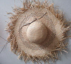 Fringe Edge Big Straw Hat