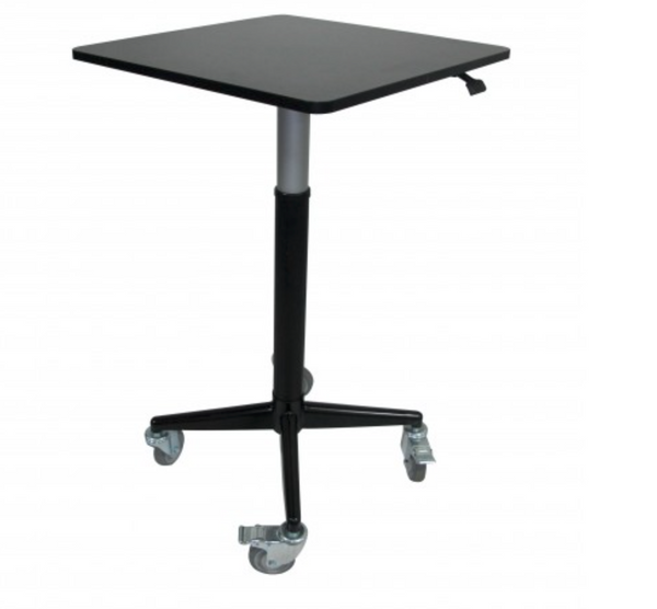 "AirDesk Series 24""x24"" Movable/Lockable Sit/Standing Desk, Pneumatic Height Adjustable 32"" to 49.5"""