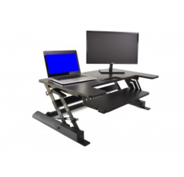 "36"" Height Manual Adjustable Desk Riser Black Matte Finish"