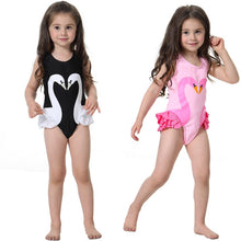 Load image into Gallery viewer, Girls Swimwear Cute Kids Swimsuit with Swimming Cap Swan Flamingo 2019 baby girl bathing suit One Pieces Swim Wear For Children