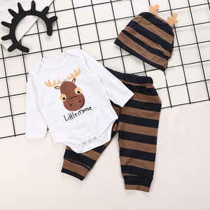 Newborn Baby Boy Letter Print Long Sleeves Top+Pants+Hat Kid Clothes Outfit Sets