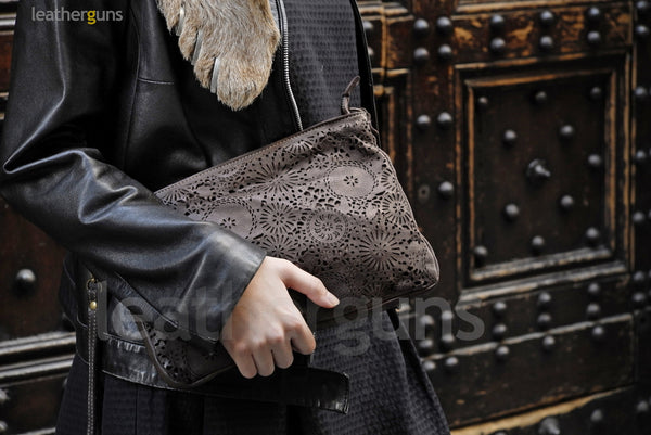 FLORA LEATHER CLUTCH