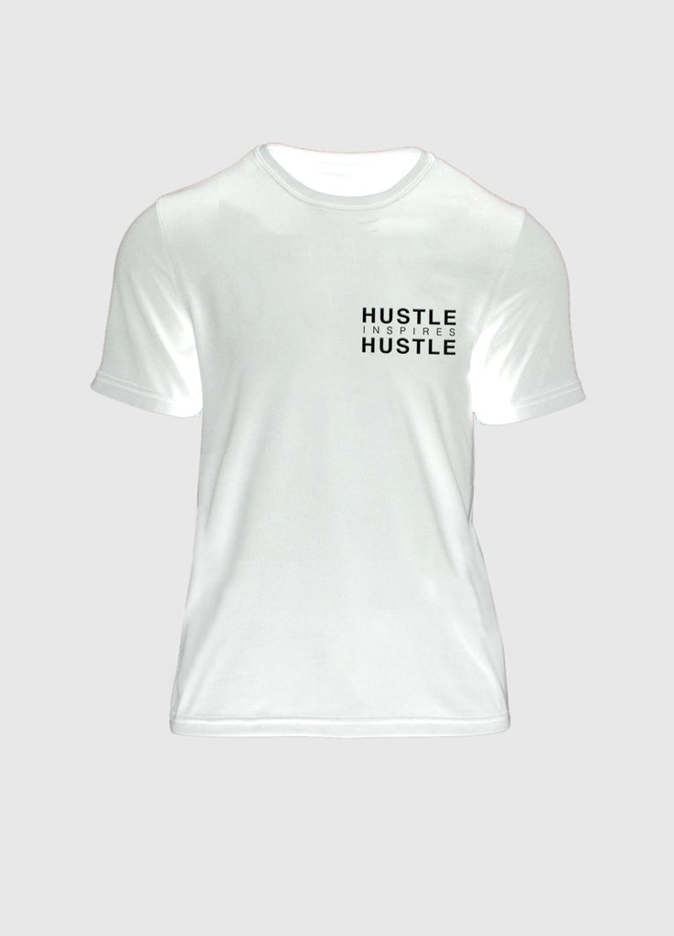 WOMENS Signature White Athletic Tee - Hustle Inspires Hustle