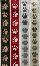 paw print ribbon brown/tan red/white white/silver cream/gold