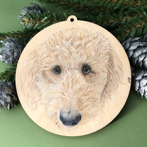 wood pet ornament labradoodle colored pencil