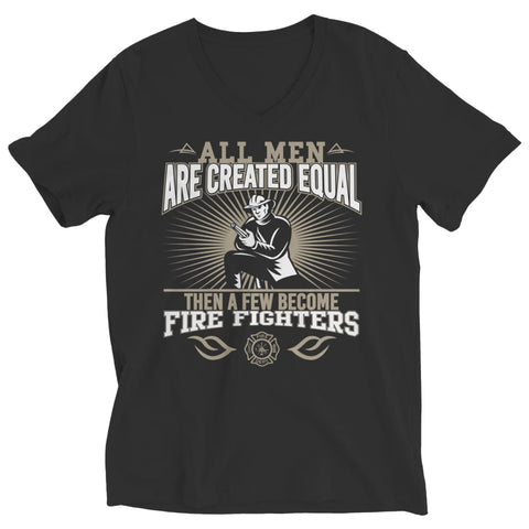 Image of All Men are Created Equal then a few become Firefighters - Long Sleeve - Ladies V-neck / Black / s - Visualtshirt.com