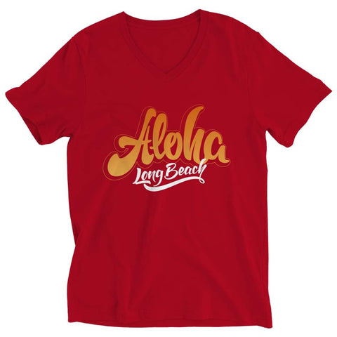 Aloha - Long Beach - T-shirt - Ladies V-neck / Red / s - Unisex Shirt - Visualtshirt.com