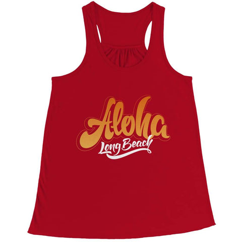 Aloha - Long Beach - T-shirt - Bella Flowy Racerback Tank / Red / 2xl - Unisex Shirt - Visualtshirt.com