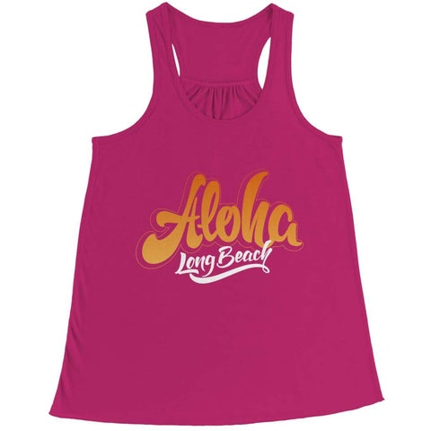 Aloha - Long Beach - T-shirt - Bella Flowy Racerback Tank / Pink / 2xl - Unisex Shirt - Visualtshirt.com
