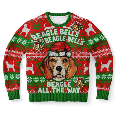 Beagle Bells All the way Ugly Christmas Sweater - Xs - Fashion Sweatshirt - Aop - Visualtshirt.com