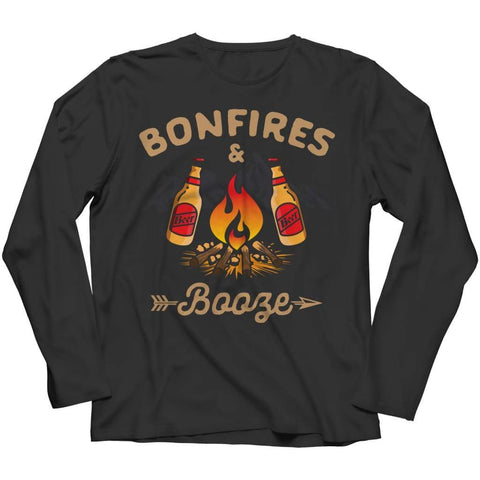 Image of Bonfires and Booze - Long Sleeve - Black / s - Visualtshirt.com