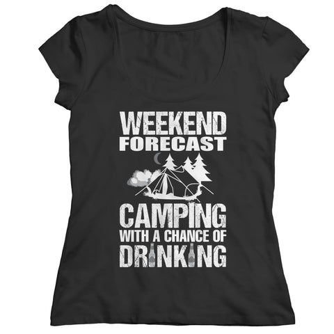 Camping with a Chance of Drinking - Long Sleeve - Ladies Classic Shirt / Black / s - Visualtshirt.com