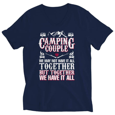 Camping Couple - Long Sleeve - Ladies V-neck / Navy / s - Visualtshirt.com