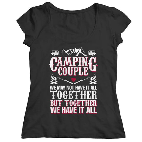 Image of Camping Couple - Long Sleeve - Ladies Classic Shirt / Black / s - Visualtshirt.com