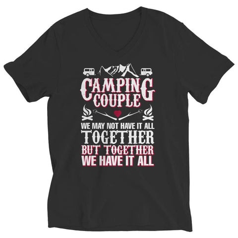 Image of Camping Couple - Long Sleeve - Ladies V-neck / Black / s - Visualtshirt.com