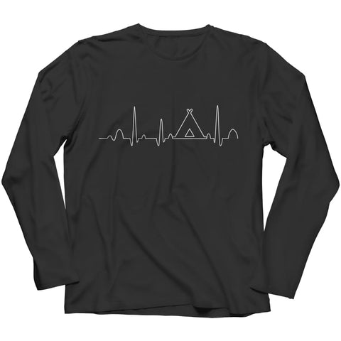 Image of Camping Heartbeat - Long Sleeve - Black / s - Visualtshirt.com