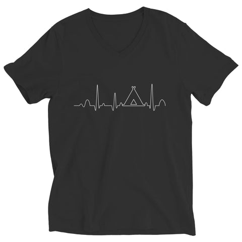 Image of Camping Heartbeat - Long Sleeve - Ladies V-neck / Black / s - Visualtshirt.com