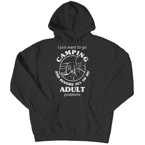 I just want to go Camping - Long Sleeve - Hoodie / Black / s - Visualtshirt.com