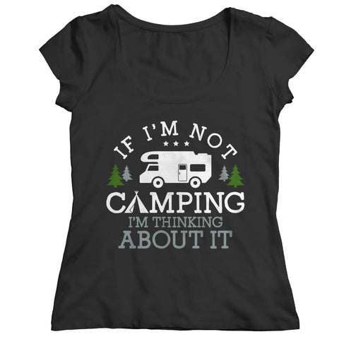 Image of If i'm not Camping - Long Sleeve - Ladies Classic Shirt / Black / s - Women's - Visualtshirt.com