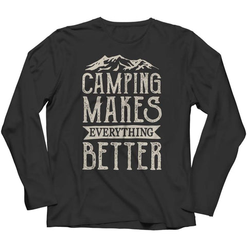 Image of Camping Makes everything better - Hoodie - Long Sleeve / Black / s - Hoodie - Visualtshirt.com