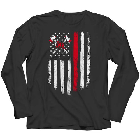 Image of Z--firefighter Axe American Flag - Hoodie - Long Sleeve / Black / s - Hoodie - Visualtshirt.com