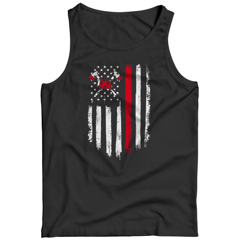 Image of Z--firefighter Axe American Flag - Hoodie - Tank top / Black / s - Hoodie - Visualtshirt.com