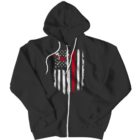 Image of Z--firefighter Axe American Flag - Hoodie - Zipper / Black / s - Hoodie - Visualtshirt.com